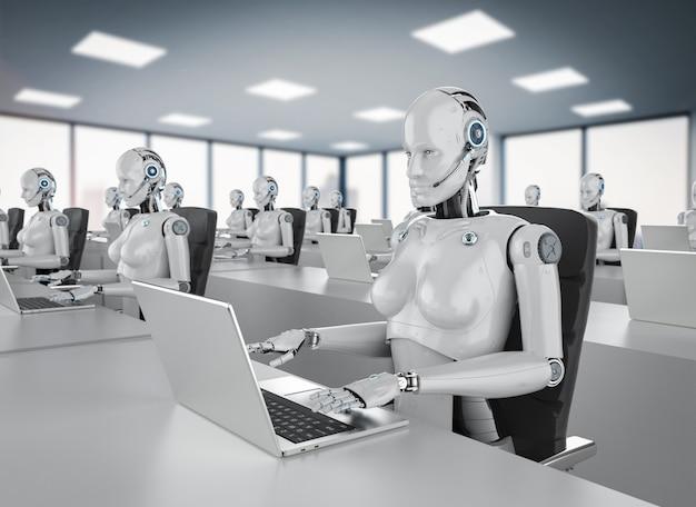 Concetto di lavoratore di ufficio di automazione 3d rendering gruppo di cyborg o robot femminili lavorano su computer notebook