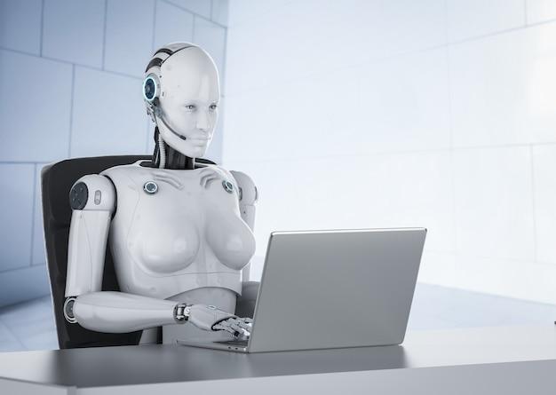 Automazione concetto di lavoratore d'ufficio con rendering 3d cyborg femmina o robot lavora su computer notebook