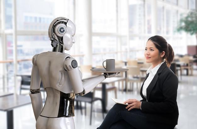Il concetto di ristorante di automazione con il robot cameriere di rendering 3d serve una tazza di caffè