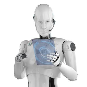 Concetto di lavoratore di automazione con rendering 3d cyborg femmina o robot con tavoletta di vetro