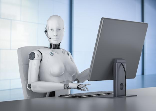 Il concetto di lavoratore di automazione con rendering 3d cyborg femminile o robot lavora su computer desktop