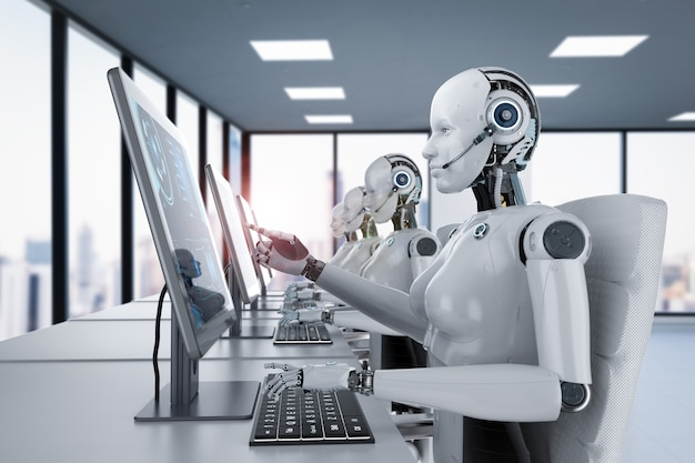 Il concetto di lavoratore di automazione con un gruppo di rendering 3d di cyborg o robot femminili lavora su computer desktop