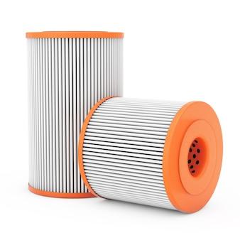Cartuccia di filtro olio arancione automobilistico su sfondo bianco. rendering 3d