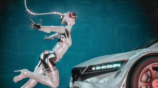 Tecnologia automobilistica. ragazze robot e automobili in futuro. rendering 3d e illustrazione.