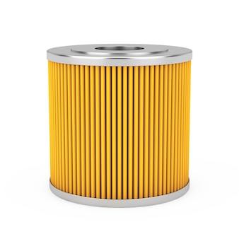 Cartuccia filtro olio per autoveicoli giallo su sfondo bianco. rendering 3d