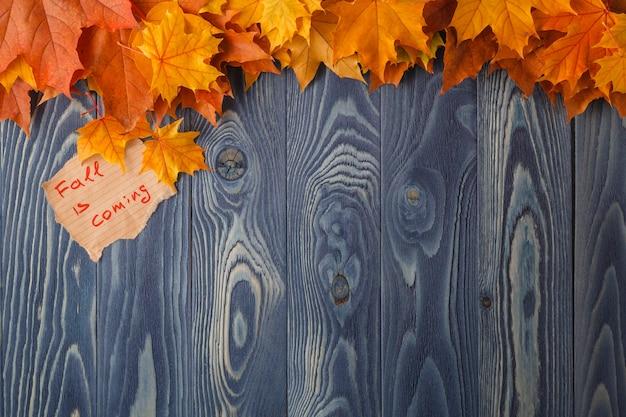 Sfondo autunnale. foglie colorate su uno sfondo di legno. disegno del bordo autunnale