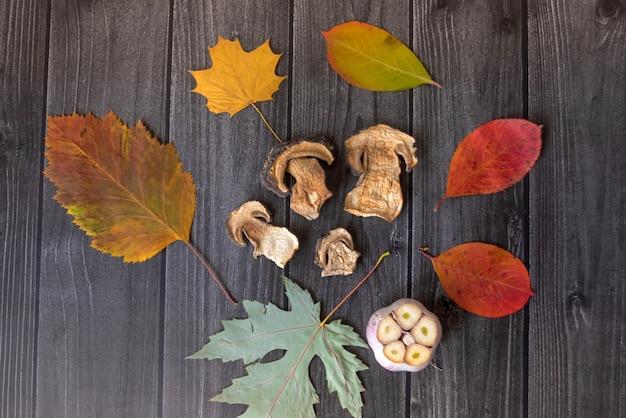 Sfondo autunnale con funghi secchi, aglio e zucca. foglie di albero secco. fondo in legno naturale. disposizione piana, vista dall'alto.