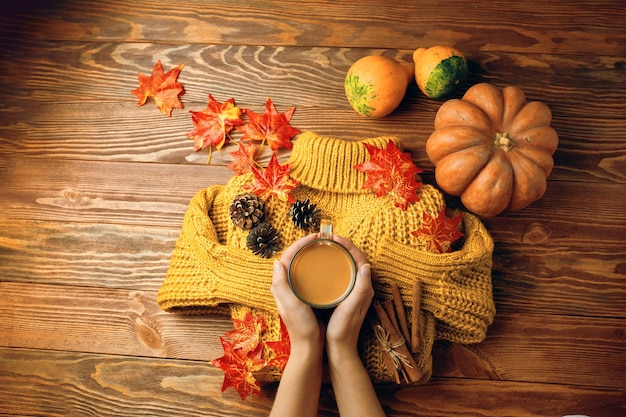Bandiera di autunno con foglie gialle, maglione lavorato a maglia, bastoncini di cannella, zucche e tazza di caffè su legno