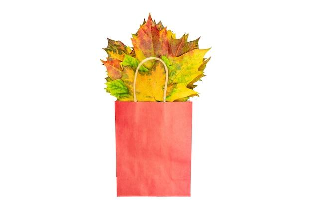 Autunno bouquet di foglie di acero secco in sacchetto di carta rosso su bianco, piatto laici