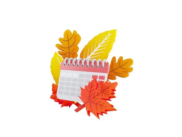 Illustrazione del calendario autunnale di un calendario su uno sfondo di foglie autunnali giallo arancio