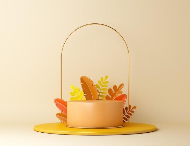 Fondo della decorazione del podio del cerchio di autunno con le foglie arancioni