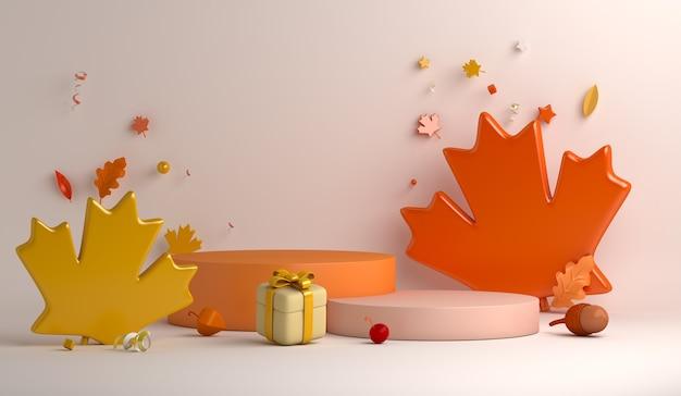 Fondo della decorazione del podio del cerchio di autunno con il contenitore di regalo delle foglie di acero arancio