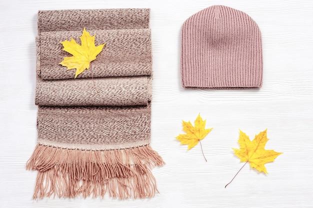 Sciarpa e berretto di lana calda e confortevole autunnale e foglie di acero decorative decorative