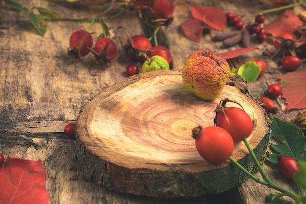 Composizione autunnale di bacche e foglie di frutta secca su un tavolo in legno naturale.