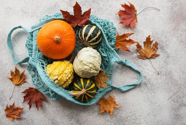 Composizione autunnale con zucche assortite in sacchetto di corda ecologica, sfondo del ringraziamento.