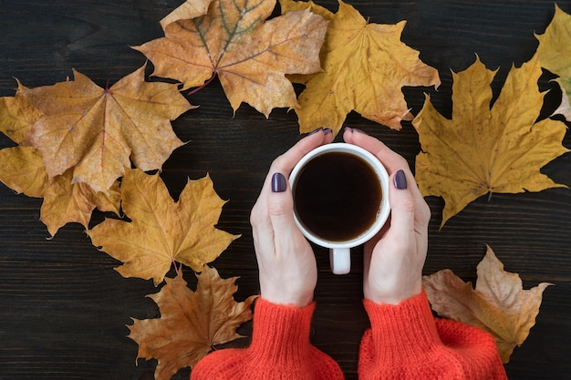 Composizione autunnale con foglie secche piatte e caffè in mano di una donna su fondo di legno. vista dall'alto.