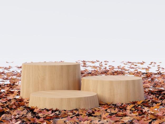 Il podio di legno del cilindro vuoto di concetto di autunno circondato dalle foglie cadute 3d rende