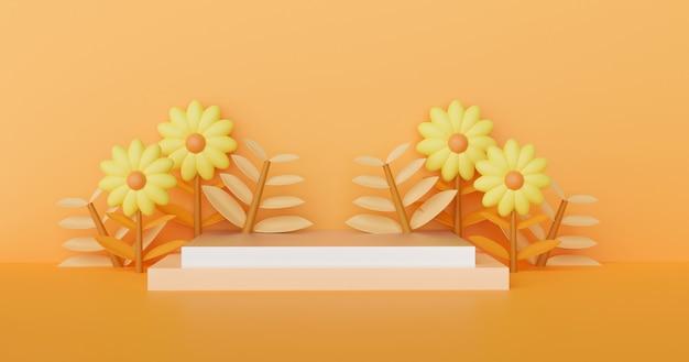 Concetto di autunno con podio per prodotto. rendering 3d.
