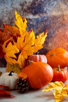 Commosizione autunnale con zucche e foglie colorate, pigne.