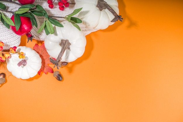 Sfondo di decorazione autunnale con zucche, bacche autunnali, foglie, fiori, su uno sfondo arancione brillante vista dall'alto flatlay copy space frame