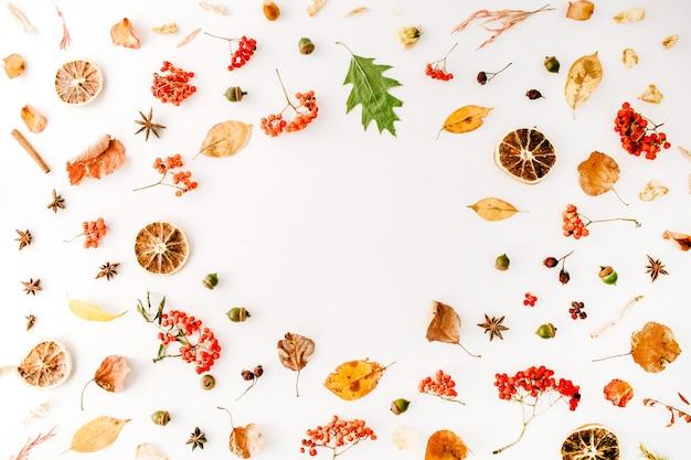 Autumn fall flat lay, top view creative frame arrangiamento.