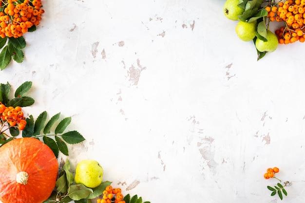 Piatto autunnale con zucche, mele, pere e bacche di sorbo su uno sfondo di pietra bianca. copia spazio, vista dall'alto.