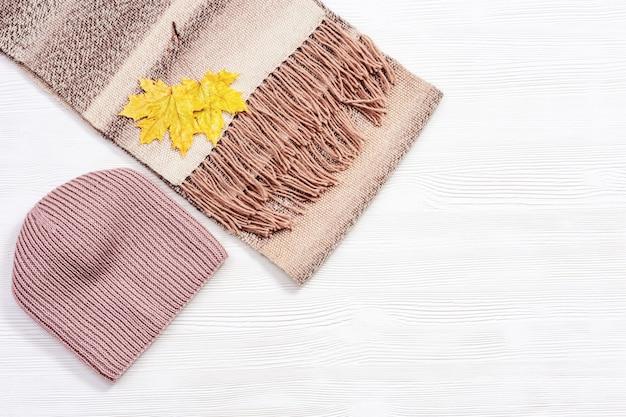 Piatto autunnale con sciarpa di lana calda e berretto lavorato a maglia vestiti autunnali alla moda
