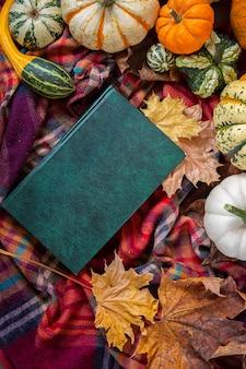 Vendemmia autunnale. zucche decorative di diverse varietà e un libro su una coperta plaid. vista dall'alto.