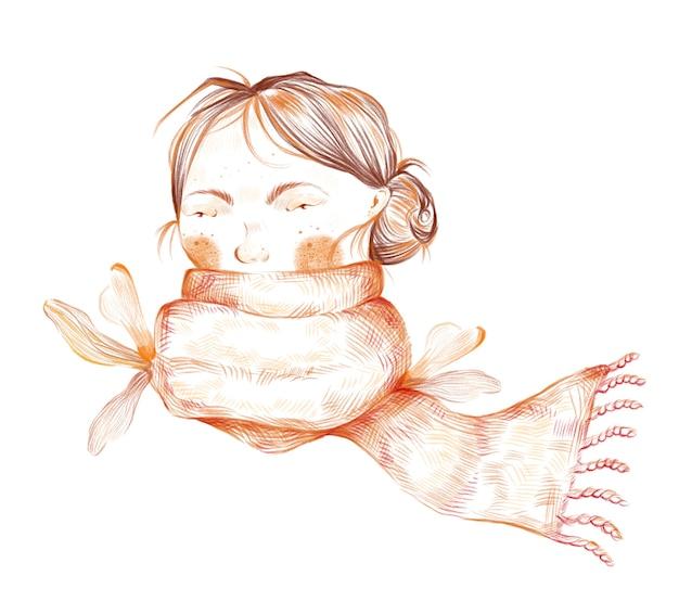 Illustrazione di autunno del ritratto della ragazza negli elementi di stile del portello della sciarpa isolati su fondo bianco