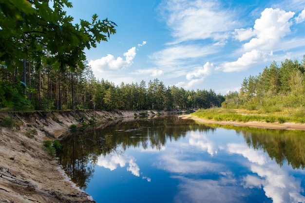 Paesaggio autunnale. il fiume scorre attraverso la foresta, cielo azzurro con nuvole.