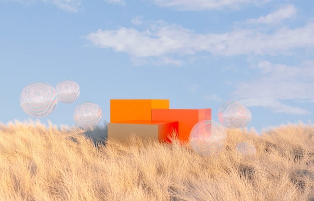 Scena di paesaggio autunnale con podio arancione.