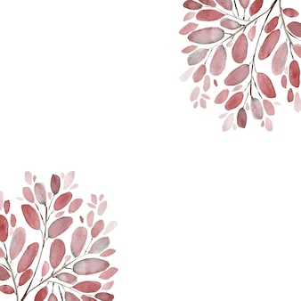 Fondo dell'illustrazione dell'acquerello dei rami e delle foglie di autunno. set di elementi floreali dipinti a mano. illustrazione botanica dell'acquerello.