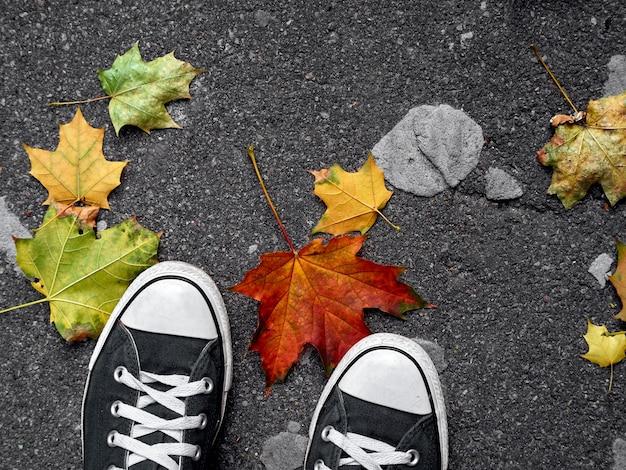 Foglie di autunno e scarpe su cemento grigio