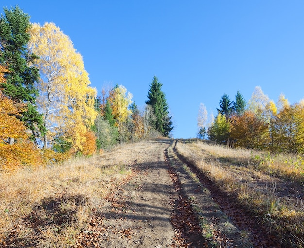 Autunno montagna nimchich pass (carpazi, ucraina) e strada di campagna sulla collina.