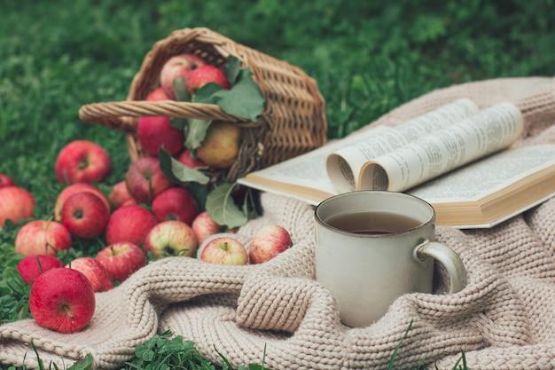 Picnic autunnale e umore. una tazza di tè o caffè, una coperta a maglia, un libro e un cestino con bacche rosse sparse sul prato verde. atmosfera autunnale, vibrazioni e colori autunnali