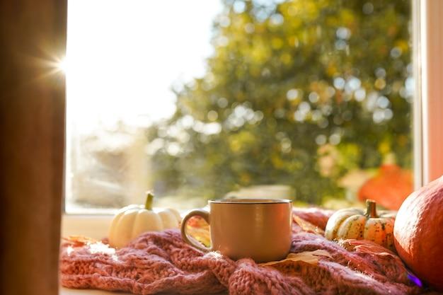 Podio autunnale per prodotti, concetto di casa accogliente, finestra con zucche e foglie d'autunno