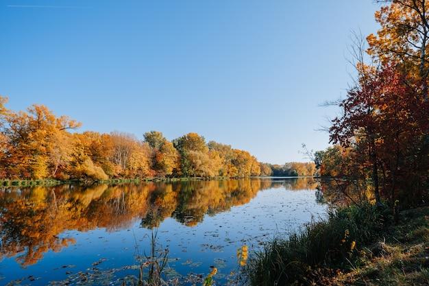 Autunno in riva al fiume con alberi colorati