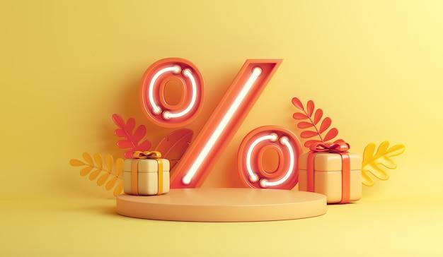 Sfondo di vendita autunnale con simbolo di percentuale di luce al neon con foglie arancioni con scatola regalo sul podio