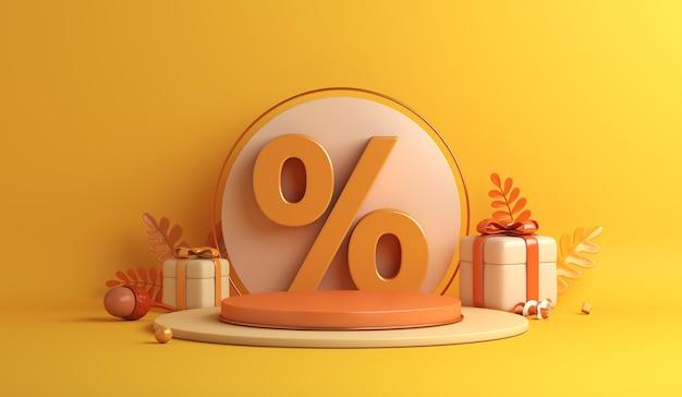 Lo sfondo di vendita autunnale con foglie d'arancio mostra la ghianda del simbolo della percentuale della scatola regalo del podio
