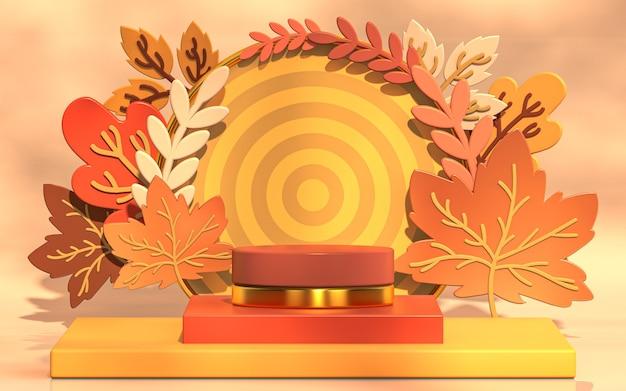 Esposizione del podio di presentazione del prodotto di vendita di autunno con il rendering 3d delle foglie di acero