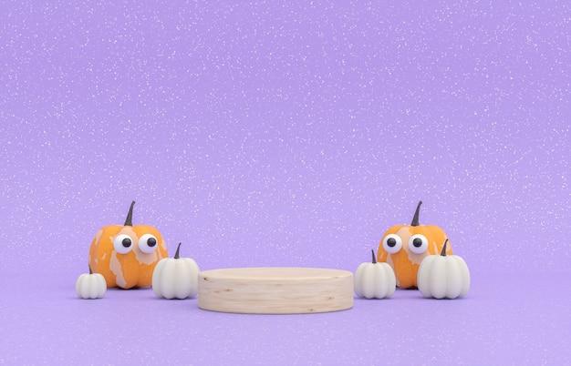 Scena autunnale con stand prodotto e zucche halloween concept