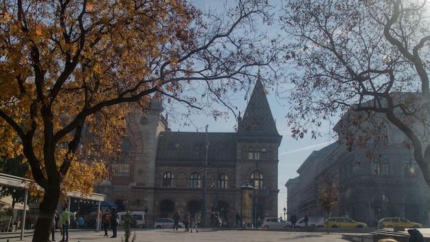 Piazza d'autunno prima del vecchio edificio del grande mercato coperto su uno sfondo di cielo azzurro a budapest, ungheria.