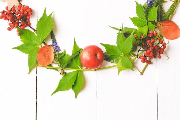 Sfondo di natura morta autunnale. fiori autunnali, mele, cenere di montagna