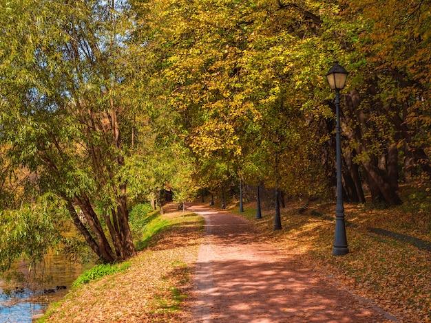 Vicolo soleggiato autunnale con foglie rosse cadute in un bellissimo parco vuoto di mosca tsaritsyno. russia.