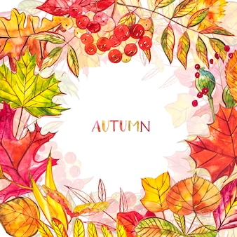 Autunno con foglie dorate e rosse con bacche. illustrazione ad acquerello