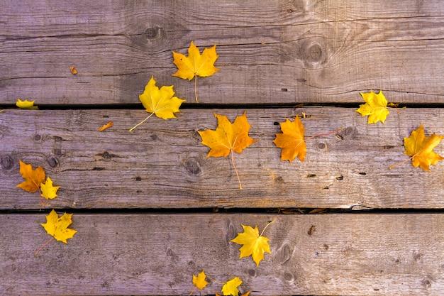 Le foglie di acero gialle di autunno si trovano sul vecchio pavimento di legno non dipinto. umore autunnale Foto Premium