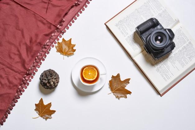 Sfondo autunnale con foglie autunnali libro tisana e fotocamera reflex digitale