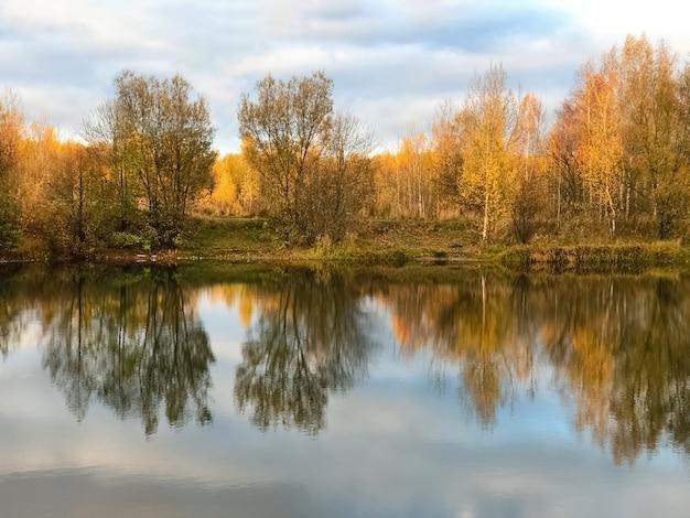 Il giallo autunnale delle foglie degli alberi riflette lo specchio nell'acqua del lago