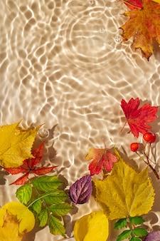 Foglie di autunno sulla superficie dell'acqua. bellissimo sfondo di ondulazione dell'acqua con spazio di copia