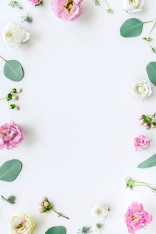 Cornice di rose a valanga su sfondo bianco